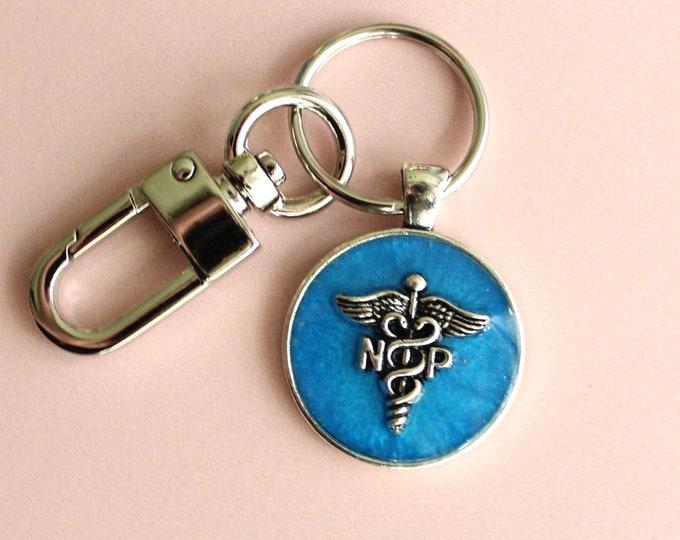 nurse practitioner keychain, NP keyring, unique gift, blue