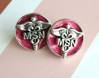 Master of Science nursing pin, red, MSN pinning ceremony, white coat ceremony