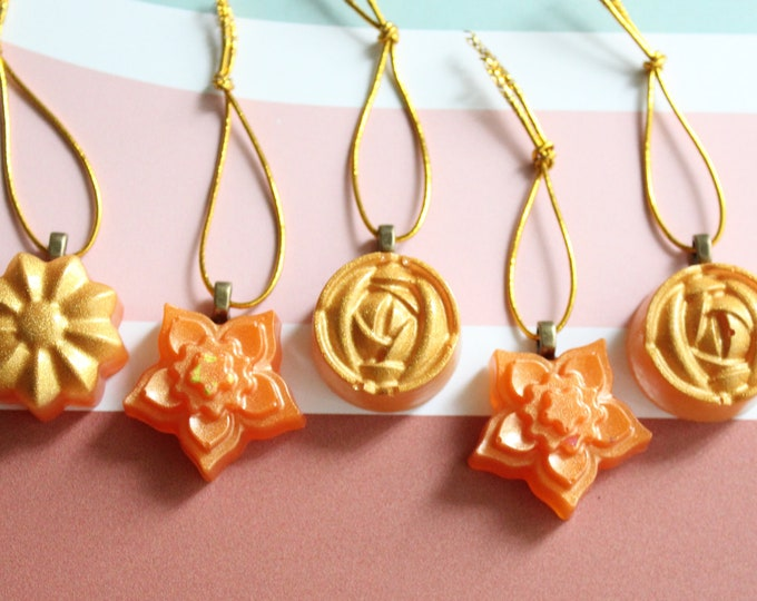 flower ornaments, set of 5, gold and orange, table top tree ornaments, spring tree decorations, miniature tree
