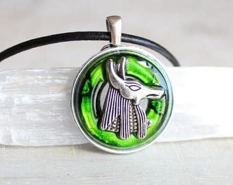 green Anubis necklace, Anubis jewelry,  Anpu necklace, Egyptian necklace, Egyptian jewelry, mens jewelry, mens necklace, unique gift