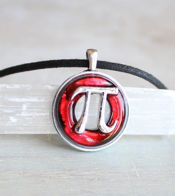 Red Pi Symbol Necklace Etsy