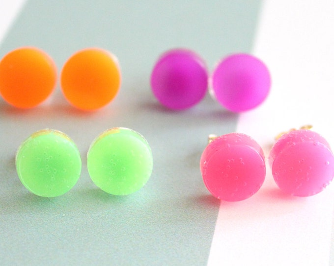 Neon polka dot earrings with sterling silver posts, set of 4, festival jewelry, circle earrings, geometric jewelry