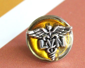 licensed vocational nurse pin, yellow, LVN pinning ceremony, white coat ceremony