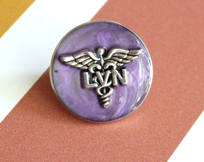 licensed vocational nurse pin, LVN pinning ceremony, white coat ceremony, heather purple, large