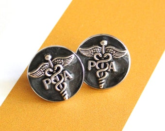 Physician assistant pin, black, PA pinning ceremony, white coat ceremony, PA lapel pin, graduation gift