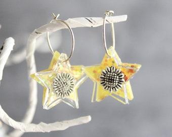 sunflower earrings on sterling silver hoop, floral jewelry, unique gift, star earrings