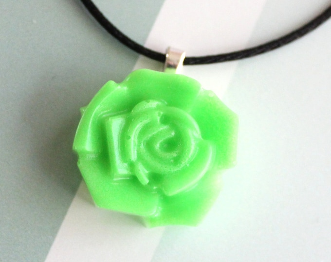 neon green  rose necklace, nature necklace, floral jewelry, boho style, unique gift, cord necklace