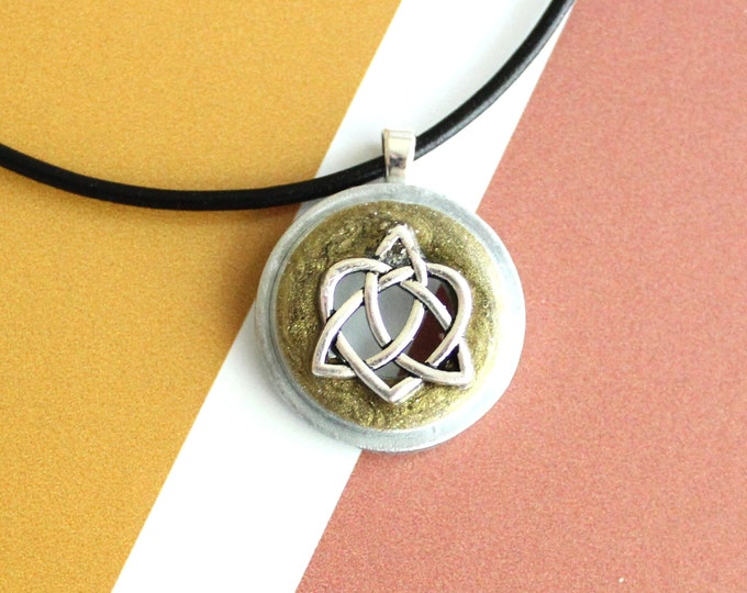 Celtic sister knot necklace, black gold, celtic knot jewelry, triquetra necklace, druid jewelry, sister gift, best friend, unique gift