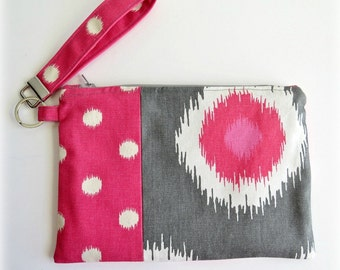 Pink and Gray Fabric Clutch/Wristlet