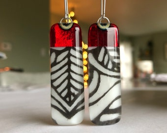 Transparent Ruby Glass Earrings