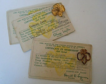 Girl Scout Membership Cards and Pins Brownie Pin Girl Scout Pin Scout Memorabilia