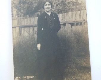 Real Photo Postcard Woman with Button Dress Buttons