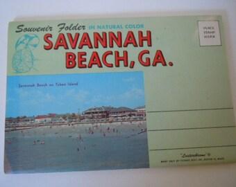 Savannah Beach Georgia Souvenir Folder Lusterchrome