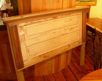 H12 Artistic Headboard or Bed Made from Antique Architectural Pieces