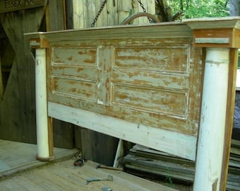 H8 Artistic Headboard or Bed Made from Antique Architectural Pieces