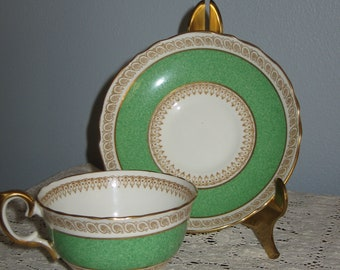 Staffordshire Crown Fine Bone China Made in England Tea Cup and Saucer  Green and Gold VERY OLD Tea Party Luncheon
