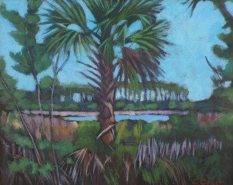 Hidden Cove  16 x 20 acrylic on canvas Palm tree Island landscape