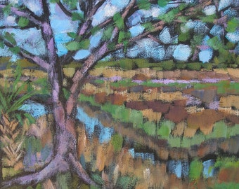 """Oak tree on the Marsh 12"""" square acrylic painting on canvas"""