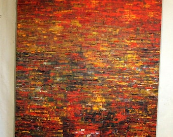 """Red Huge Painting - Original Large Abstract Modern Art Oil Painting - Michel Campeau - MADE TO ORDER - 48''x60"""""""
