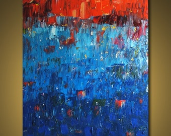 """HUGE CUSTOM PAINTING - Original Large Abstract Modern Art Oil Painting 48''x60"""" - Michel Campeau Made to order"""