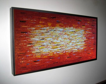 """Red Huge Painting - Original Large Abstract Modern Art Oil Painting - Michel Campeau - MADE-TO-ORDER - 36''x72"""""""