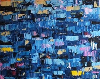 """no12 Original Huge Large Abstract Modern Art Oil Painting - Michel Campeau - MADE TO ODER - 36''x72"""""""