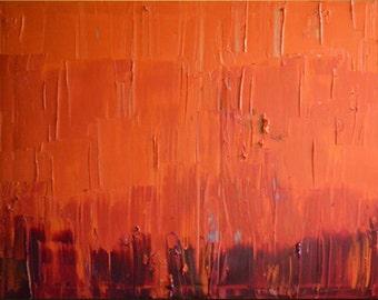 "Orange Large Painting - Original Large Abstract Modern Art Oil Painting - Michel Campeau - 48''x60"""