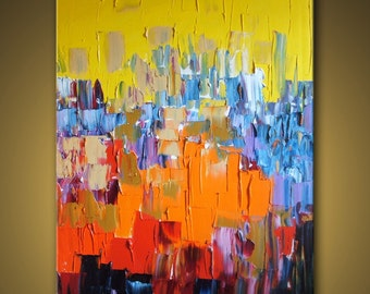 """no99 Original Huge Large Abstract Modern Art Oil Painting - Michel Campeau - MADE TO ORDER - 48''x60"""""""