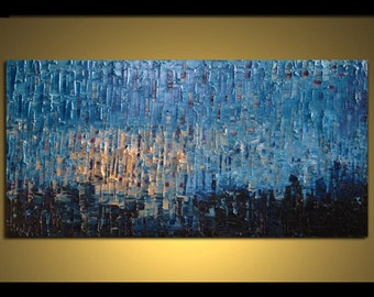 """Original Huge Large Abstract Modern Art Oil Painting - Michel Campeau - MADE TO ODER - 36''x72"""""""