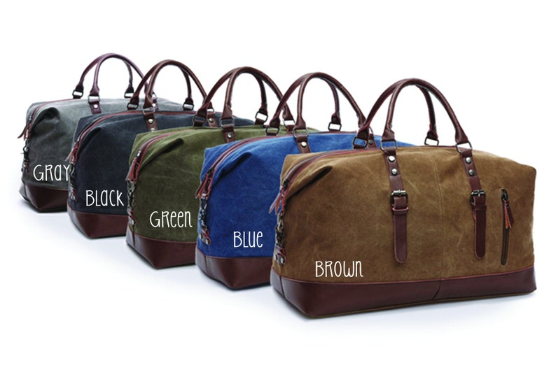 f1e8535a24 Set of 2 Mens Canvas Duffle Bag Personalized Mens Weekend