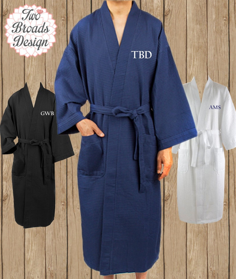 2aa5a0daad Set of 3 Mens Waffle Robes Monogrammed Dad Robe Fathers Day