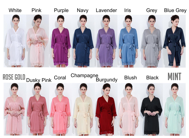 fbc1dd63749 Satin Lace Robes Rose Gold Robes Bridesmaid Robes | Etsy