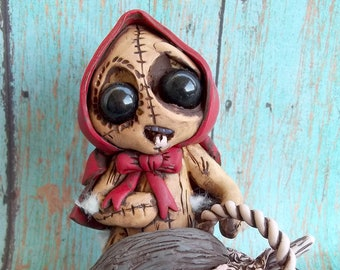 The Red Rebel Riding Hood Stitchling, polymer clay sculpture,art to,figurine,original figure,fairy tale classic,collectible,creepy,cute