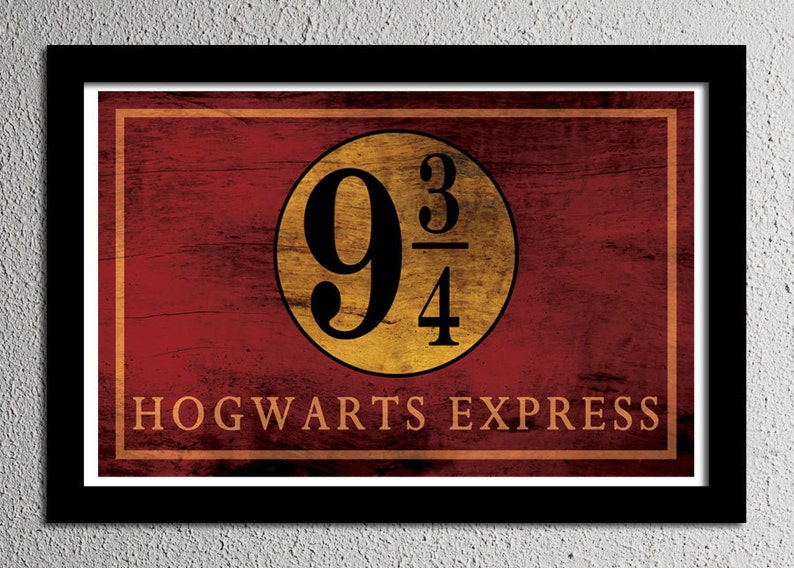 da6adb41494 Harry Potter Hogwarts Express Platform 9 3 4 Sign Typography