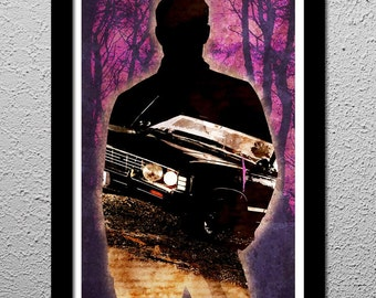 Dean Winchester - Supernatural - 1967 Chevy Impala 13x19