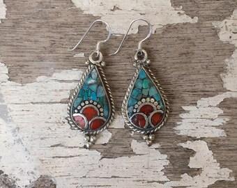 Tibetan Earrings , Turquoise & Coral Earrings , Nepalese Earrings , Boho Turquoise Earrings