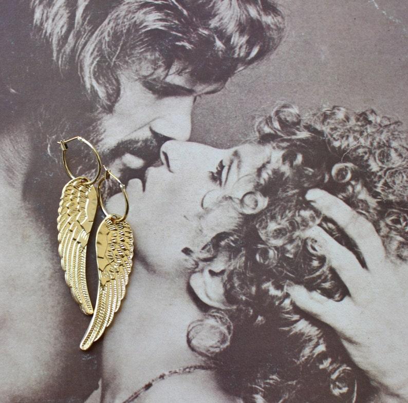 f539a278e0b5c5 Angel wings earrings large wings hoop earrings gold angel | Etsy