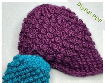 Loom Knit Bobble Button Newsboy Hat Pattern
