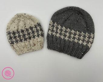 Loom Knit Houndstooth Fair Isle Hats