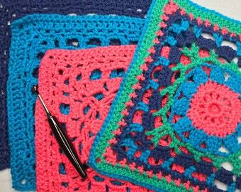 """Crochet PATTERN   Garden Party 12"""" Square pattern with VIDEO"""