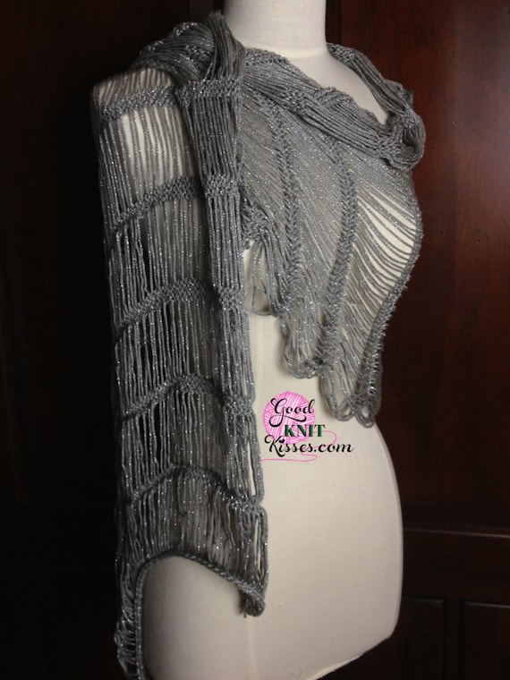 Loom Knit Lacy Shawl Pattern Dew Drop Shawl Pattern By Gkk Etsy