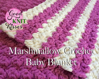 Crochet Baby Blanket PATTERN.  Marshmallow Crochet Baby Blanket pattern with VIDEO