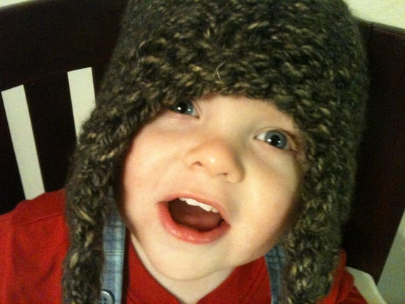 Loom Knit Earflap Hat Pattern Mossy Earflap Hat With Tails Etsy