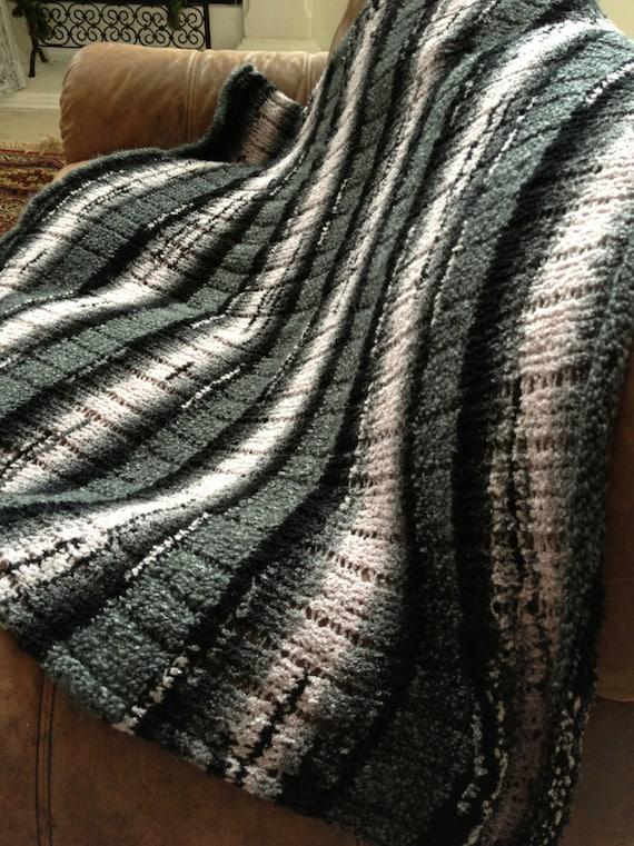 Loom Knit Afghan Pattern Striped Loom Knit Afghan Etsy