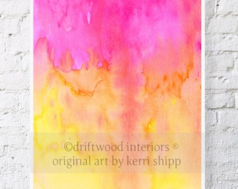 """Abstract Watercolor Print - Splice 11"""" x 14"""" - Abstract Giclee Print - Pink and Orange Watercolor Art"""