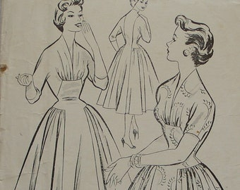 "UNUSED Soft Detail 1950s Day or Afternoon Dress Sewing Pattern LEROY 2167 Factory Folded 34"" Bust"