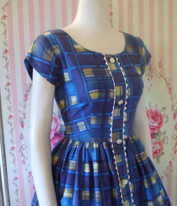 79d1eea33 Lindo Vintage años 60 1950s Check azul Plaid algodón día