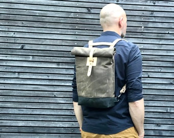 Small waxed canvas backpack  / Hipster Backpack with rolled top and leather shoulder straps