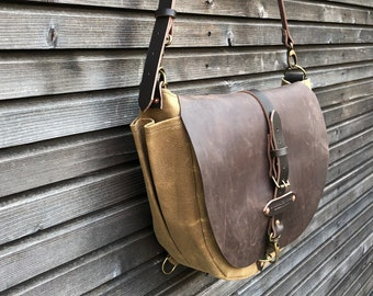 Satchel / waxed canvas messenger bag / cross body bag / Sling bag with adjustable shoulderstrap UNISEX