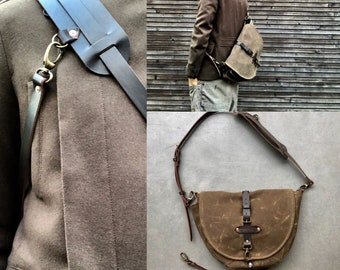 Sling bag / Hunting bag / Satchel in waxed canvas / Musette /  messenger bag in waxed canvas